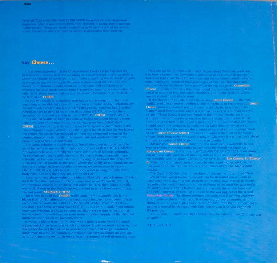 "FRANK ZAPPA - You Are What You Is Gatefold 2LP 12"" DLP VINYL Album  inner gatefold cover"