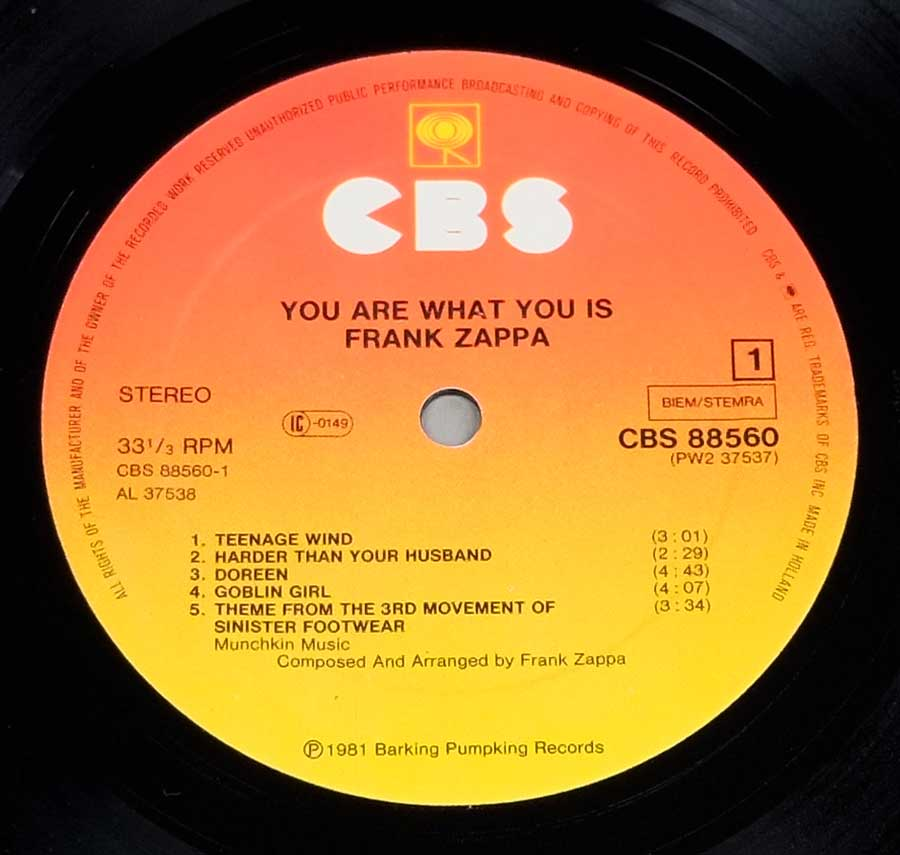 """You Are What You Is"" Record Label Details: Orange / Yellow Colour CBS 88560 PW2 37357, Made in Holland ℗ 1981 Barkin Pumpkin Records Sound Copyright"