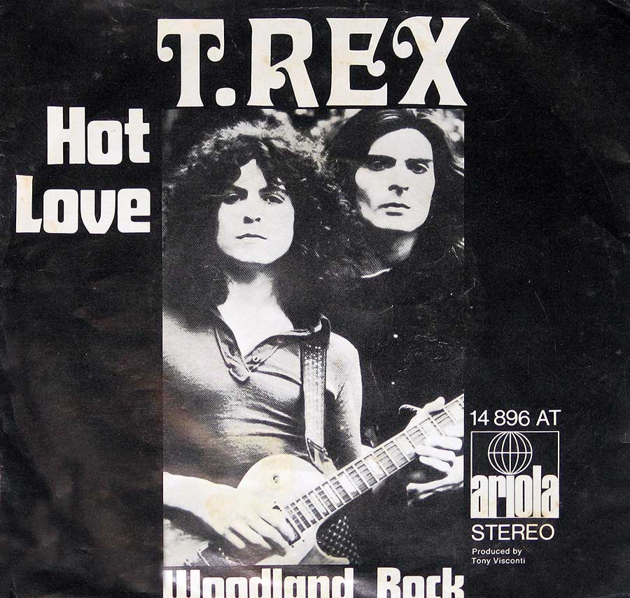 "T.REX - Hot Love / Woodland Rock 7"" Vinyl Single front cover https://vinyl-records.nl"