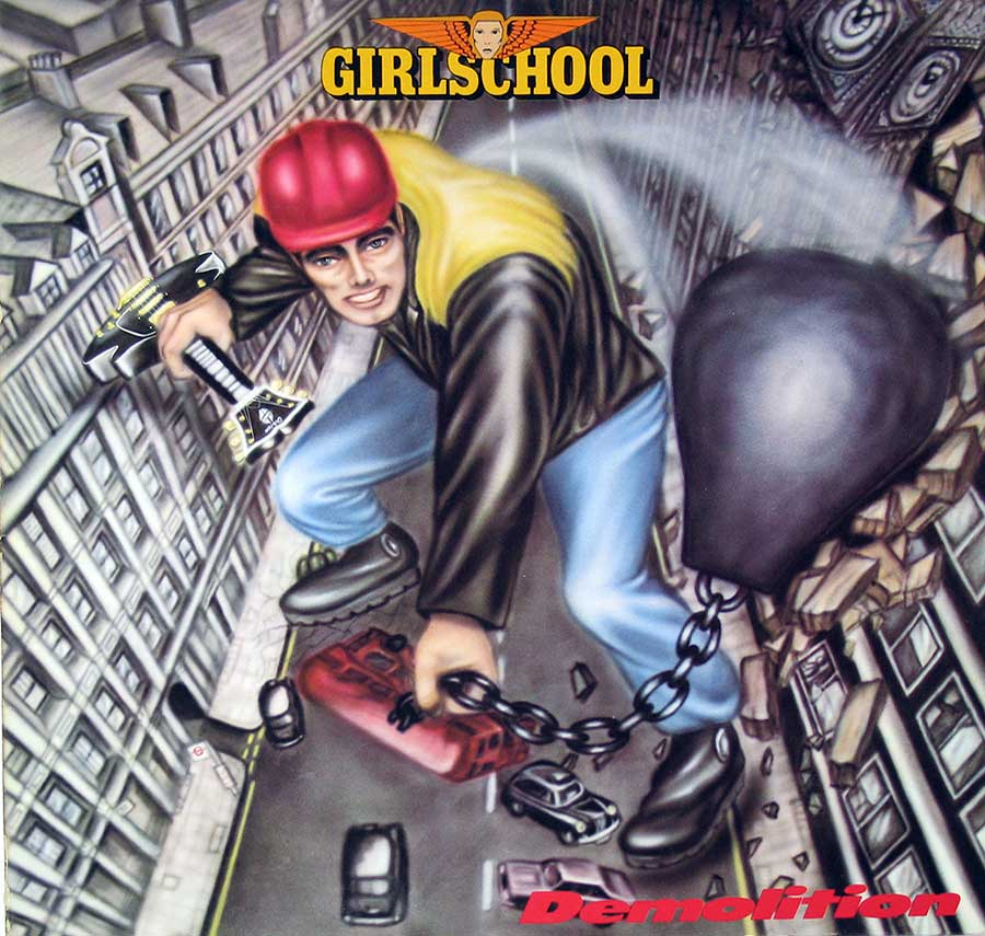 "large photo of the album front cover of: GIRLSCHOOL  - Demolition - NWOBHM 12"" VINYL LP ALBUM"