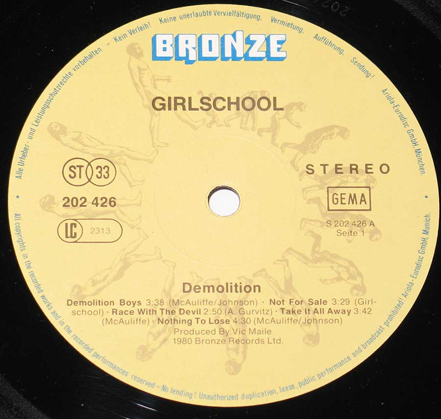 Close up of Side One GIRLSCHOOL - Demolition