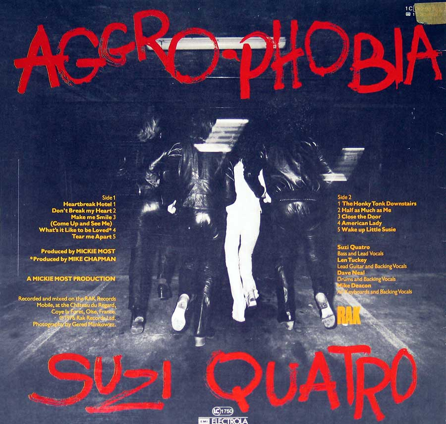 Photo of album back cover SUZI QUATRO - Aggro-Phobia