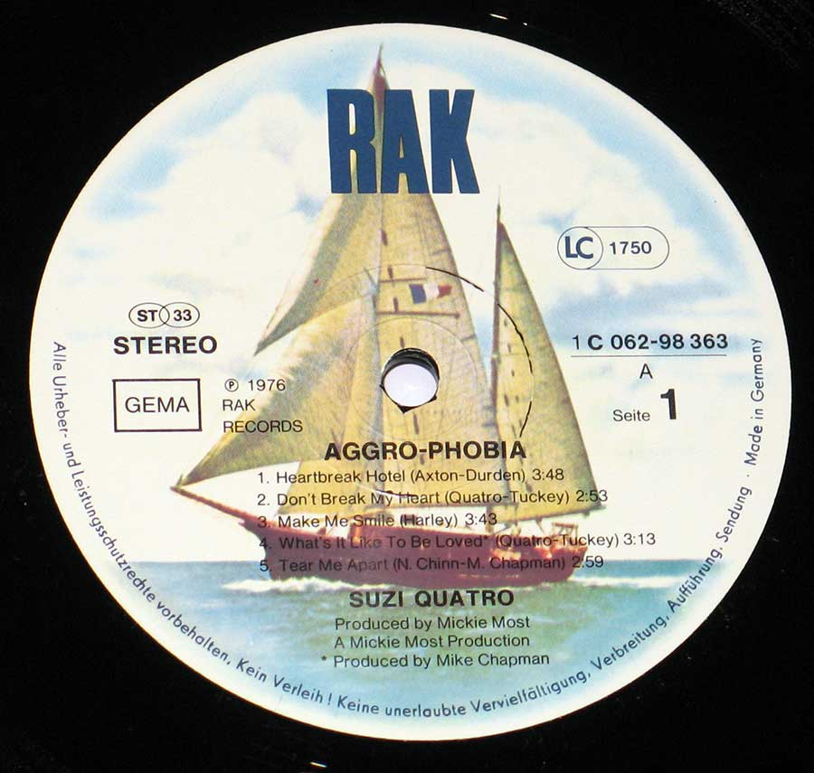 Close up of record's label SUZI QUATRO - Aggro-Phobia Side One