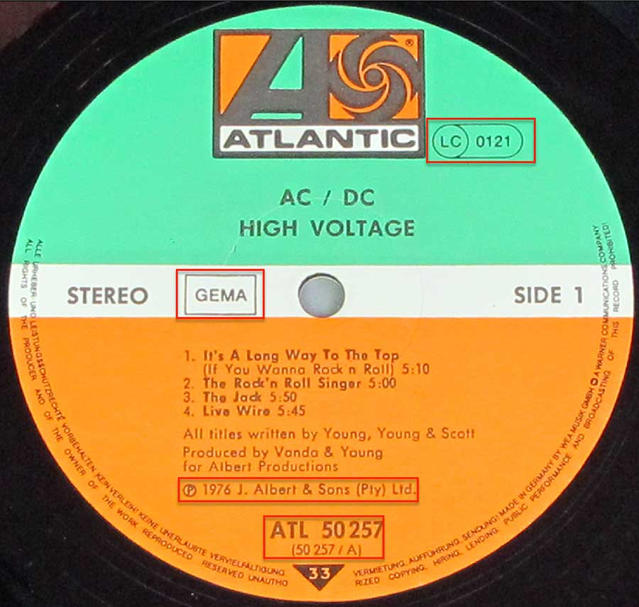 Close up of the AC/DC - High Voltage - 3 RECORD SET record's label