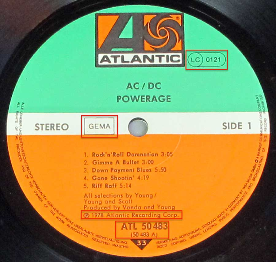 Close up of the AC/DC - Powerage 3 RECORD SET record's label