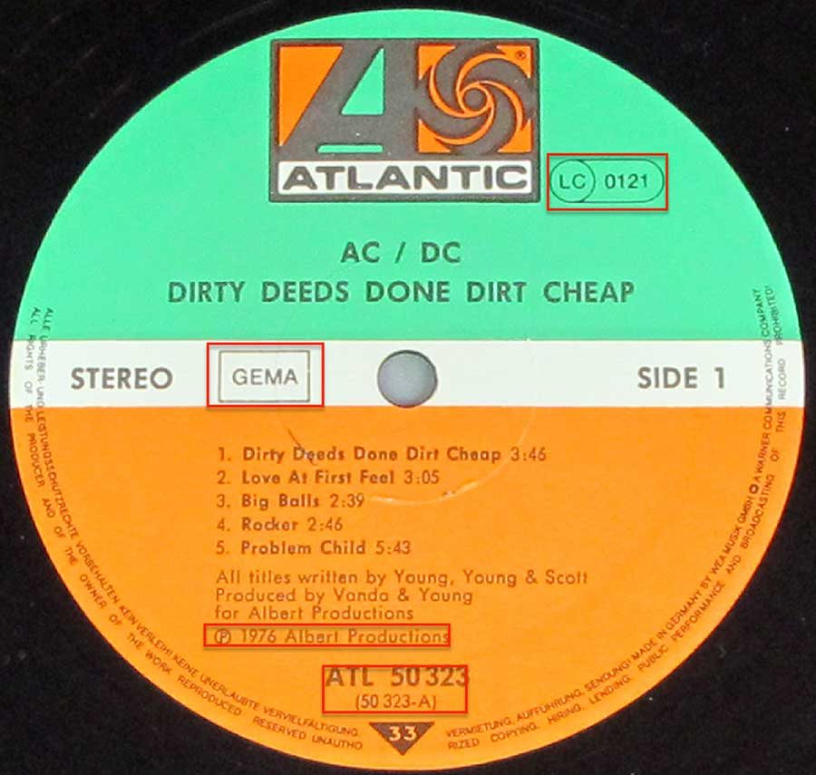 Close up of the AC/DC - Dirty Deeds Done Chaeap 3 RECORD SET record's label