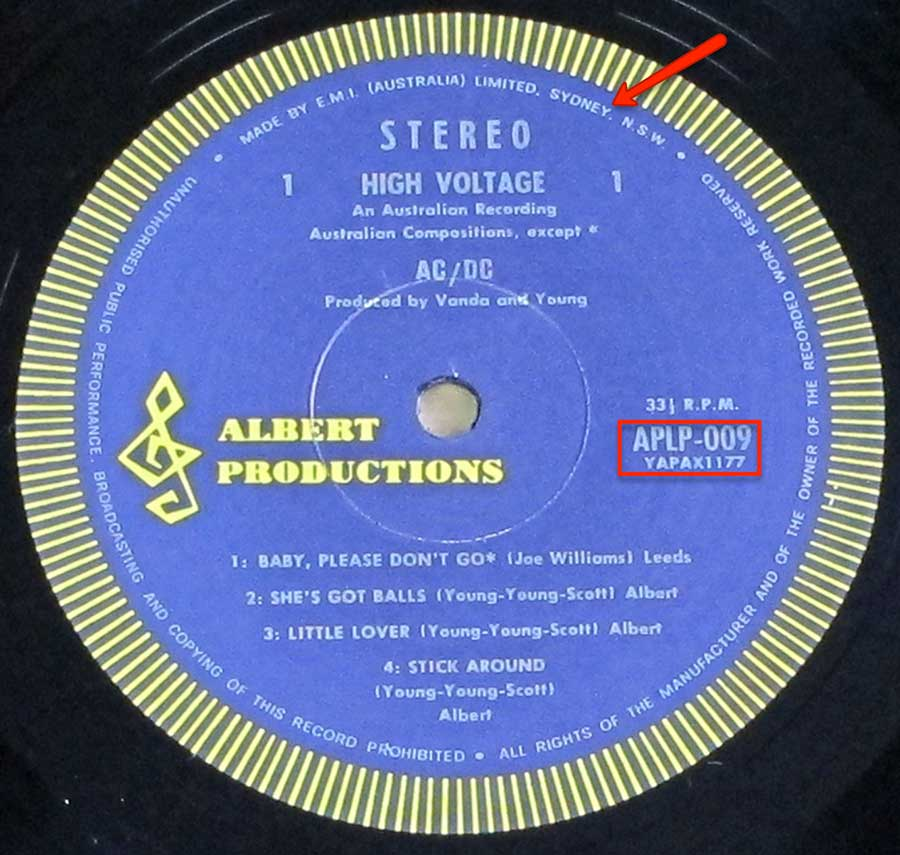 Close up of the AC/DC - High Voltage ( Genuine Australian Release ) record's label