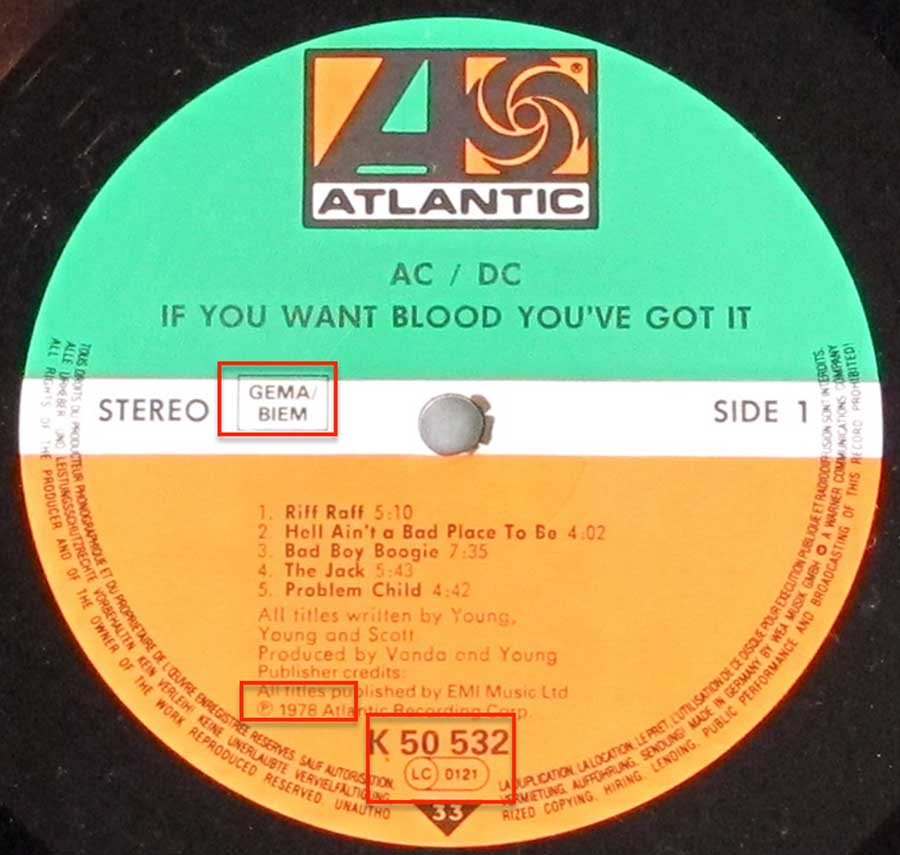 Close up of the AC/DC - If You Want Blood You've Got It record's label