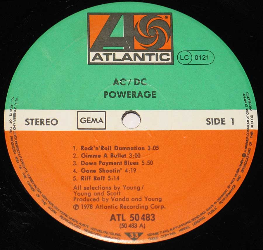 Close up of the AC/DC - POWERAGE ( Australian Rock )  record's label