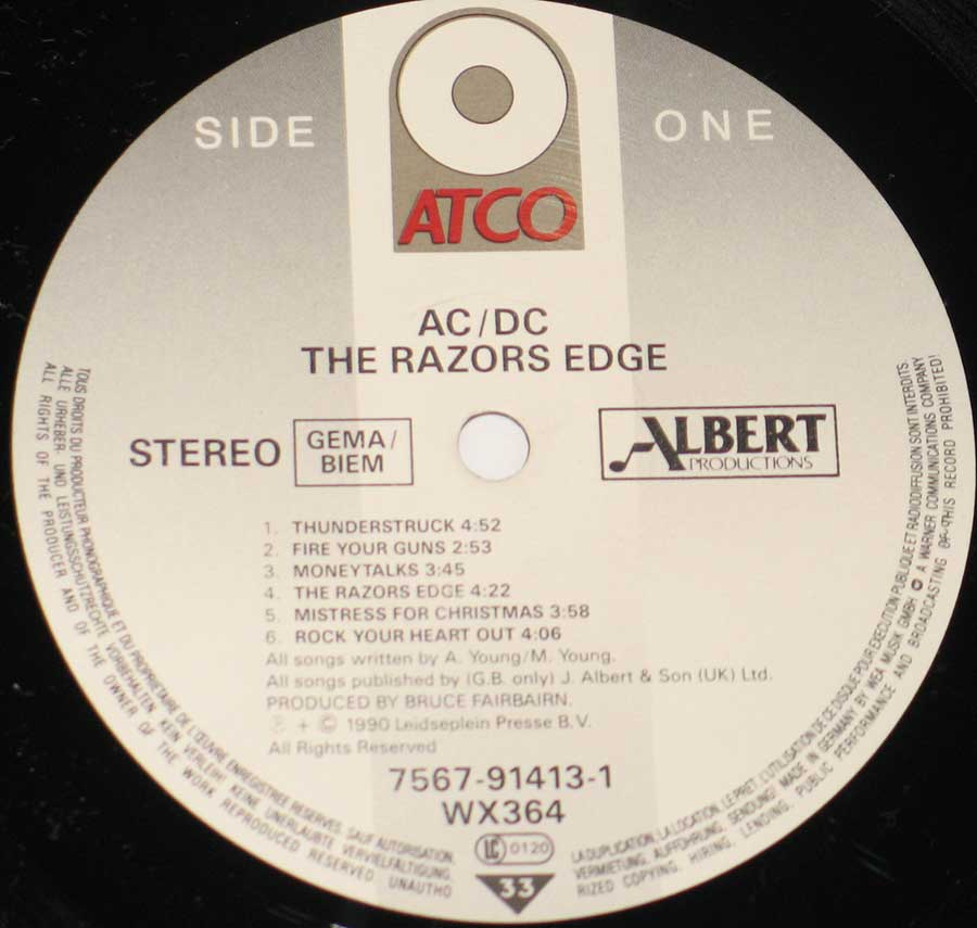 Close up of the AC/DC - The Razors Edge ( ATCO Records ) record's label