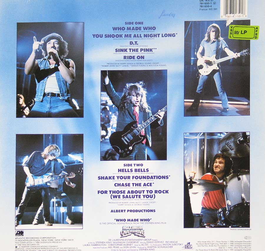 Photo of album back cover AC/DC - Who Made Who ( European Release )