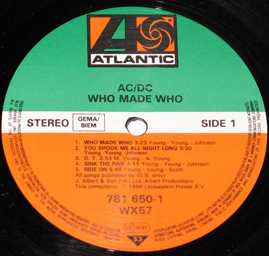 Close up of the AC/DC - Who Made Who ( European Release ) record's label