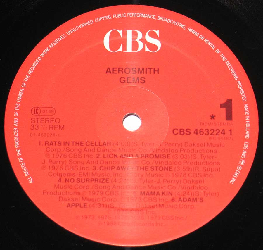 """GEMS"" Red Colour CBS Record Label Details: CBS 463224"