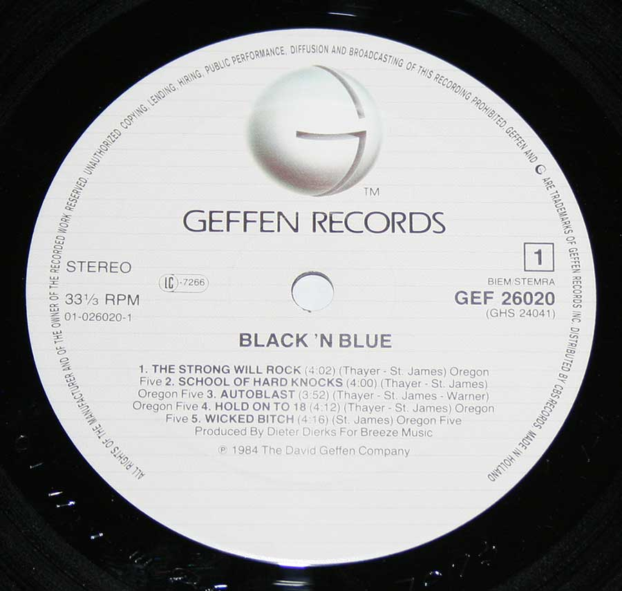 "Close up of Side One record's label BLACK 'N BLUE - Self-Titled 12"" Vinyl LP Album"