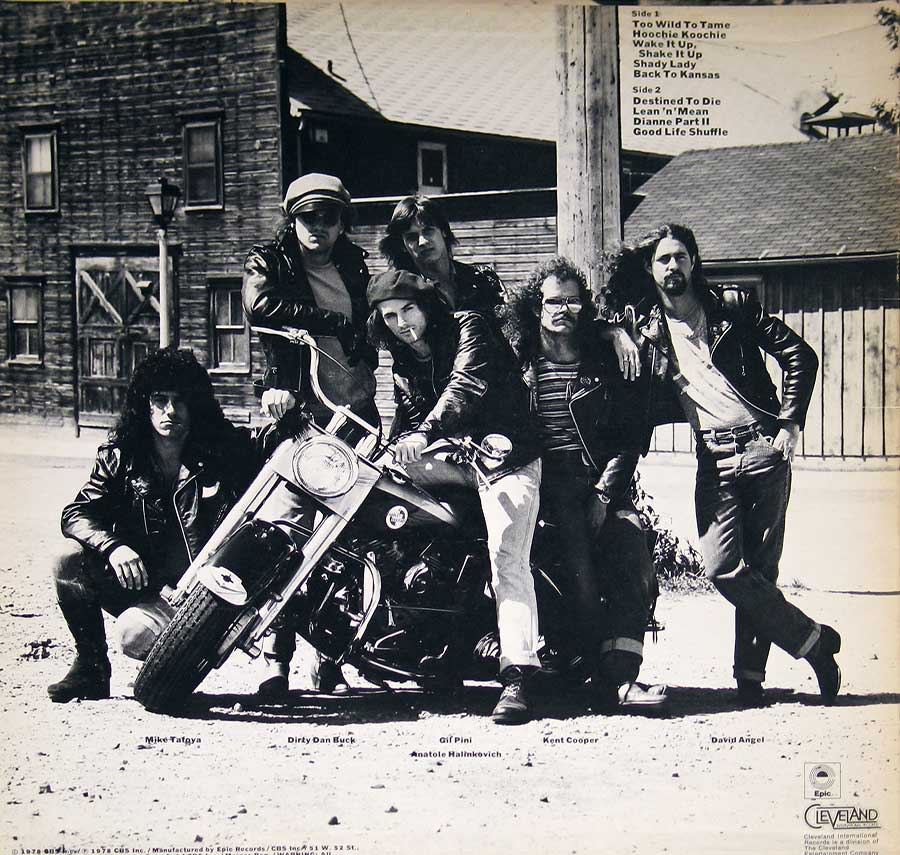 """Too Wild To Tame"" by THE BOYZZ on Cleveland Records 12"" VINYL LP ALBUM album back cover"