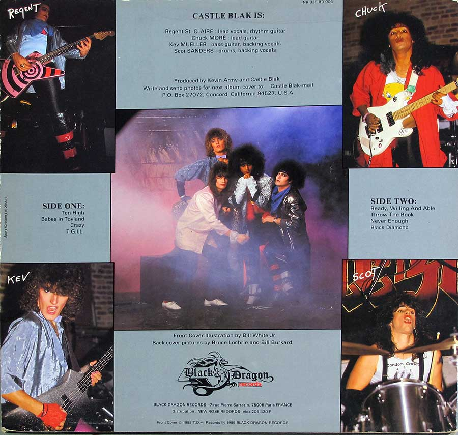 Five individual photos of the Castle Blak band-members on the album back cover