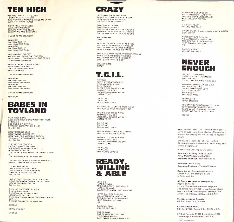 "Lyrics of the songs on ""Babes in Toyland"" printed on the original custom inner sleeve"
