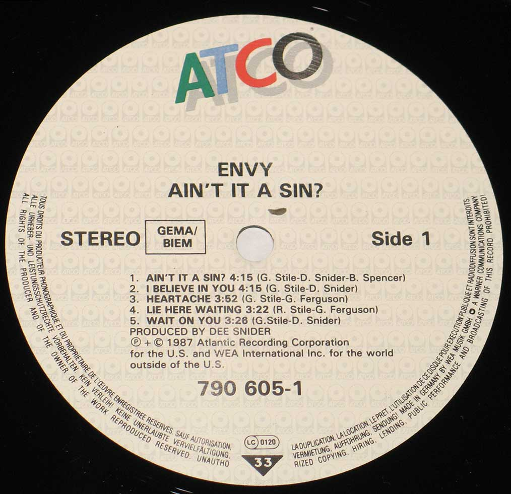 Close up of the ENVY - Ain't It A Sin record's label
