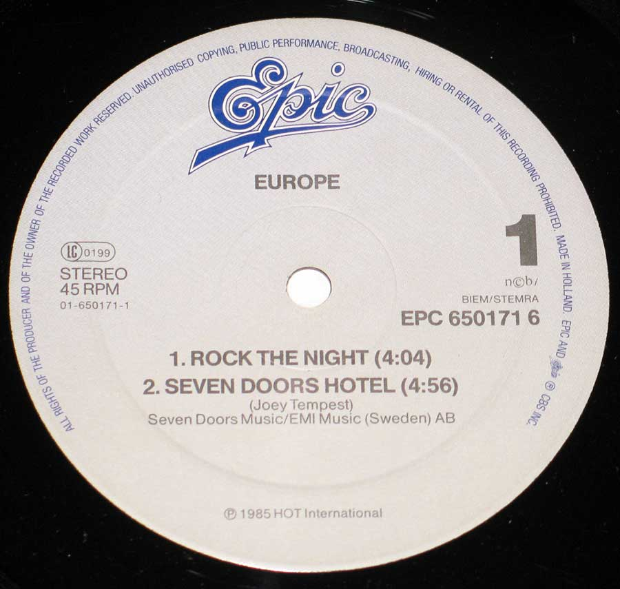 "Close up of record's label EUROPE - Rock The Night 12"" Maxi-Single EP Vinyl Side One"