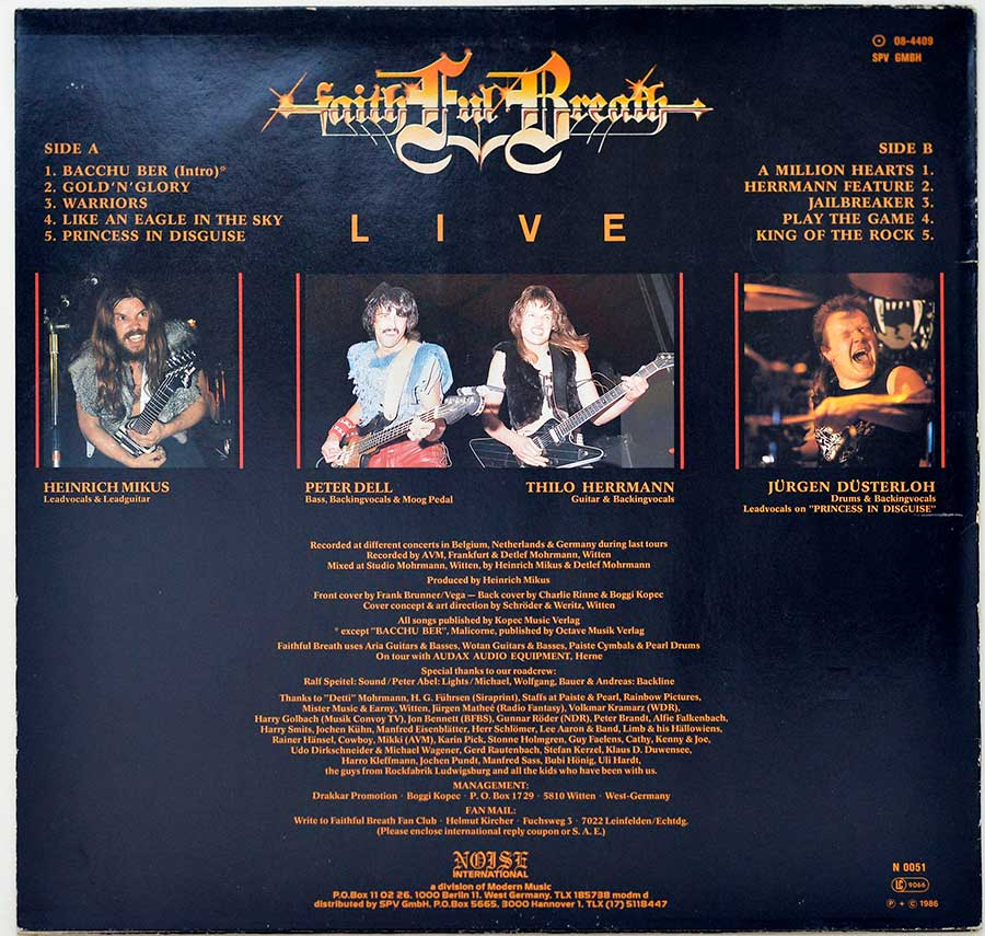 Photo of album back cover FAITHFUL BREATH - Live (incl OIS)