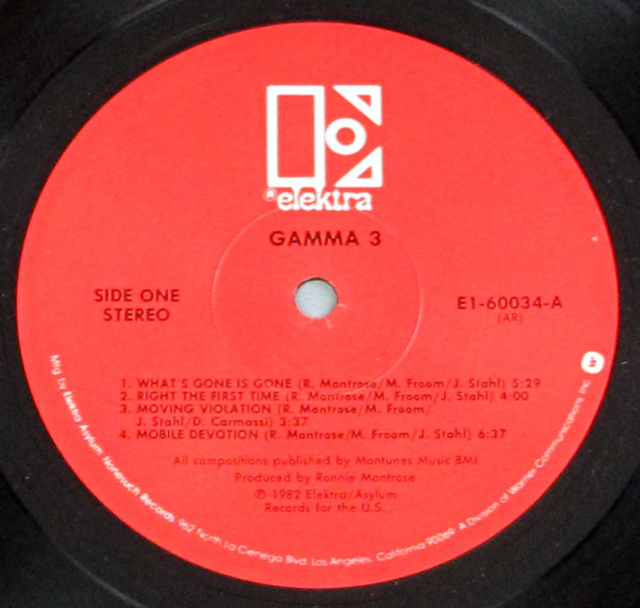 """GAMMA Three"" Red Colour Elektra Record Label Details: ELEKTRA E1-60034 ℗ 1982 Elektra / Asylum Sound Copyright"