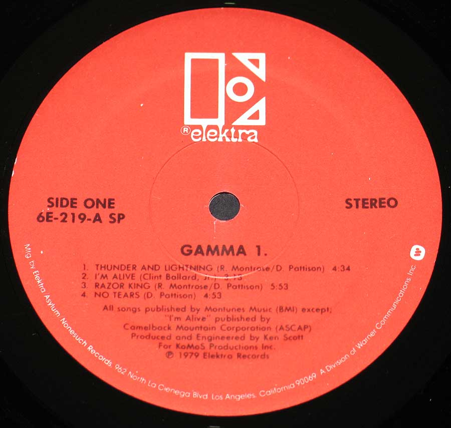 """Gamma One"" Red Colour ELEKTRA Record Label Details: ELEKTRA 6E-219-A SP ℗ 1979 Elektra Records Sound Copyright"