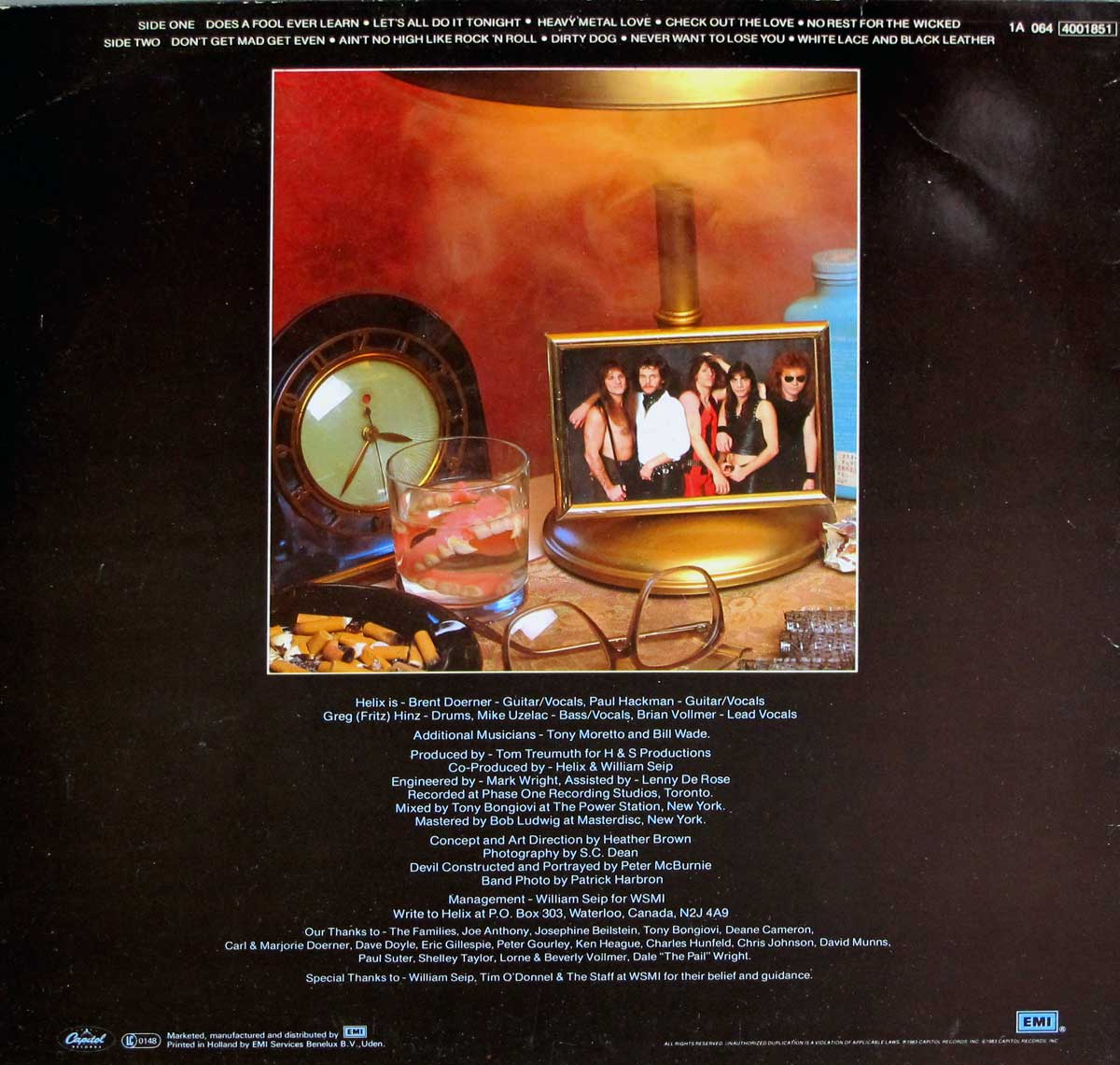 "Album Back Cover  Photo of ""HELIX - No Rest For the Wicked"""