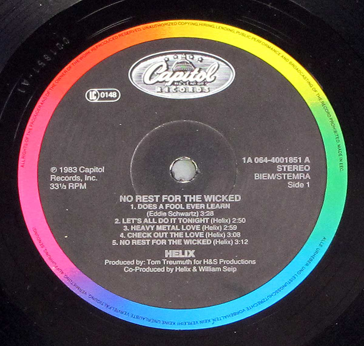 "Close-up of ""Capitol Records"" Multi-Colour Record label of ""HELIX - No Rest For the Wicked"""