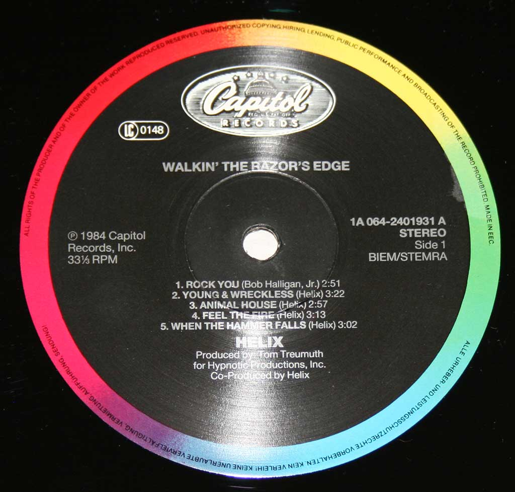 "Close-up Photo of ""HELIX Walkin' The Razor's Blade"" ""Capitol Records"" Multi-colour Record Label"