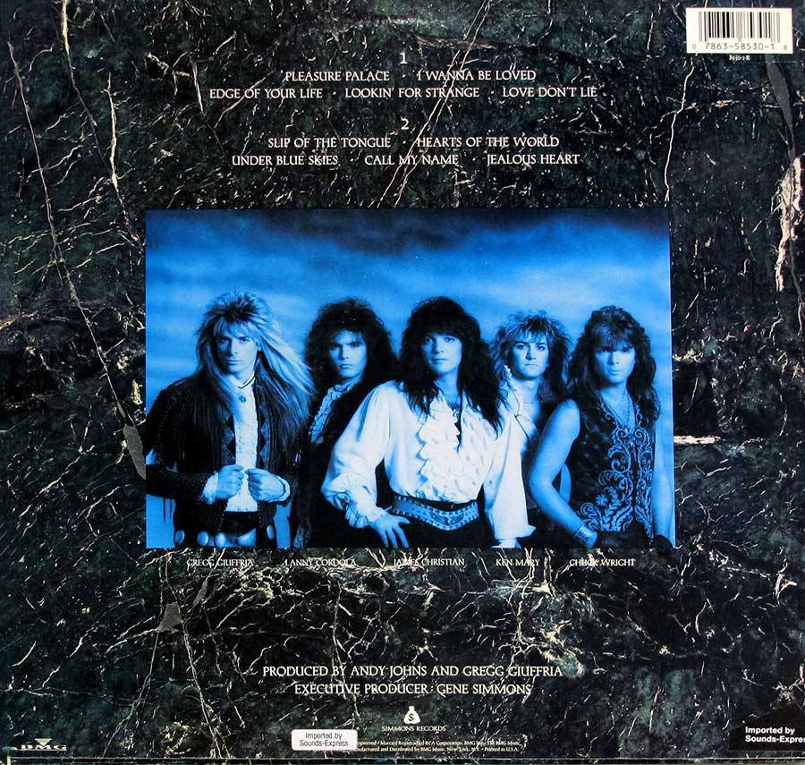 "Photo of album back cover HOUSE OF LORDS - Self-Titled (Angel, Giuffria) 12"" LP Vinyl Album"