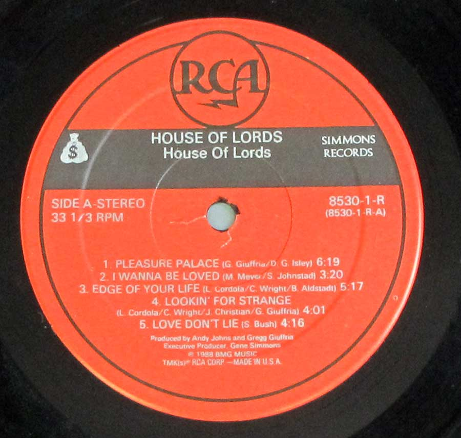 "Close up of record's label HOUSE OF LORDS - Self-Titled (Angel, Giuffria) 12"" LP Vinyl Album Side One"