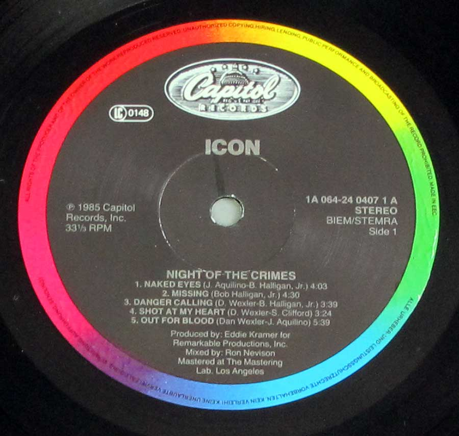 """Night Of The Crimes"" Record Label Details: Capitol Records 1A 064-24 0407 ℗ 1985 Capitol Records, Inc. Sound Copyright"