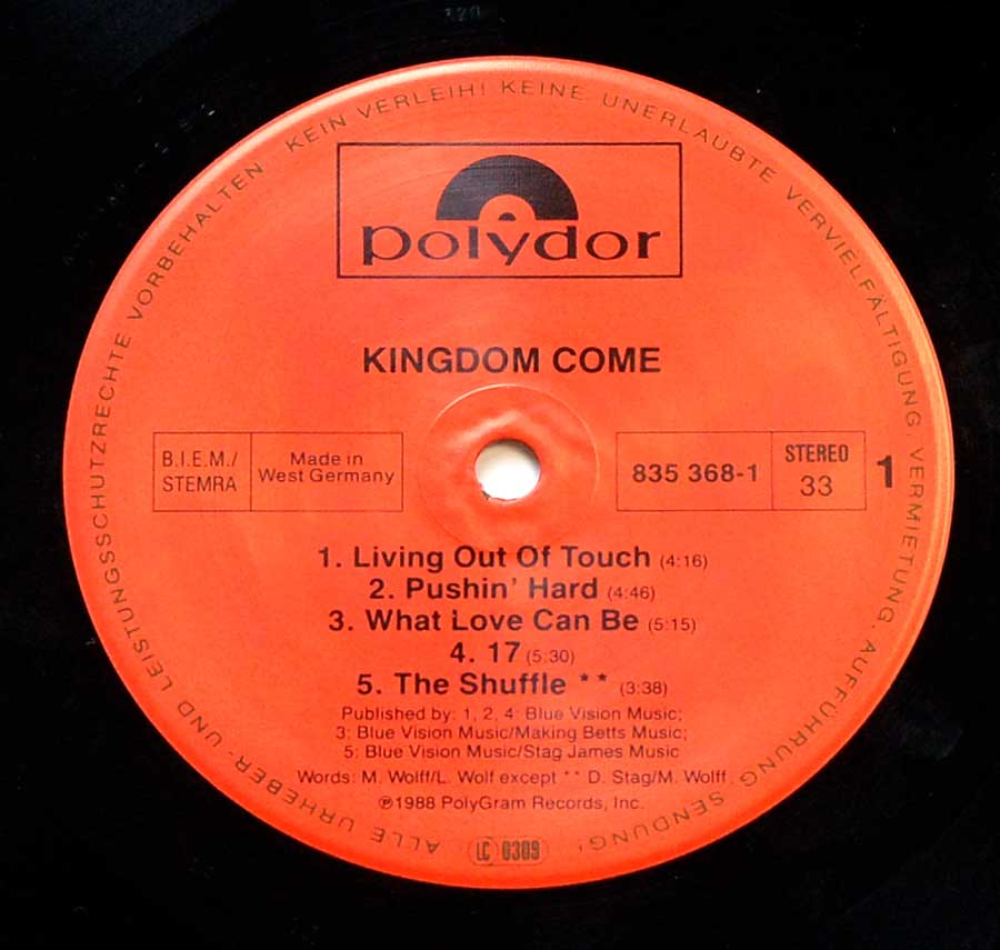"Close up of record's label KINGDOM COME - Self-Titled 12"" Vinyl LP Side One"