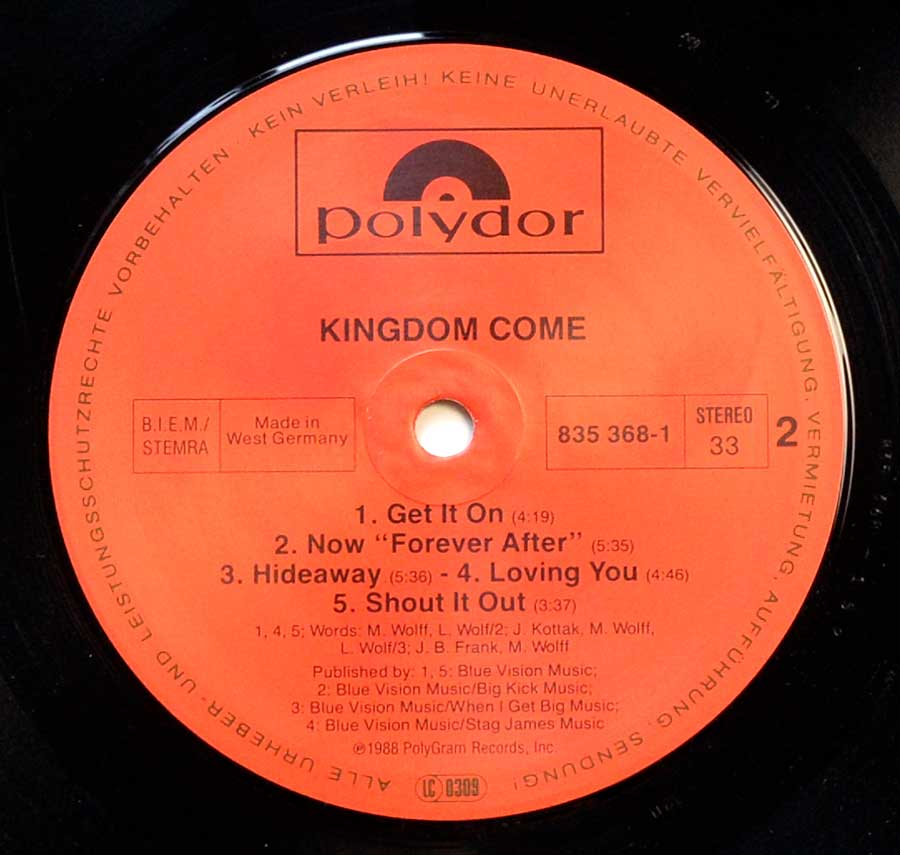 "Close up of record's label KINGDOM COME - Self-Titled 12"" Vinyl LP Side Two"