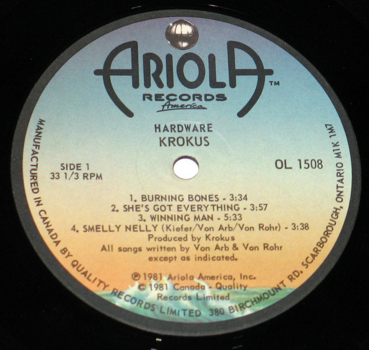 Close up of the KROKUS - Hardware Ariola Canada record's label