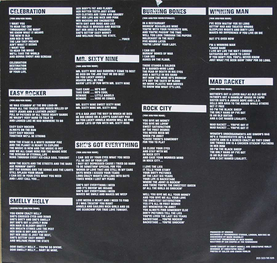 Lyrics of all the songs on Hardware by Krokus printed on the black and white custom inner sleeve