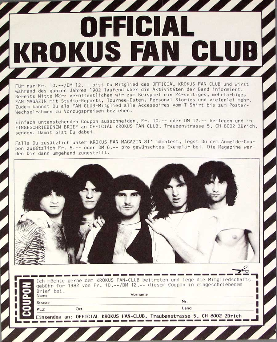 "Photo One Of The POSTER included with KROKUS - One Vice At A Time Swiss Release 12"" LP VINYL ALBUM"