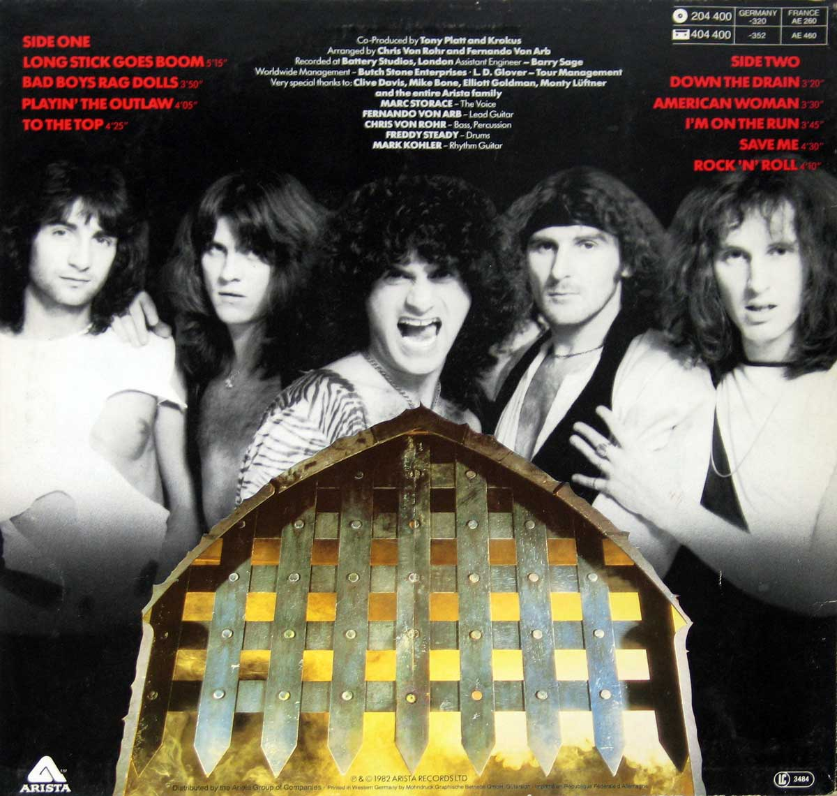 "Photo of the 5 Krokus band-members on the ""One Vice at a Time"" Album's Back Cover"