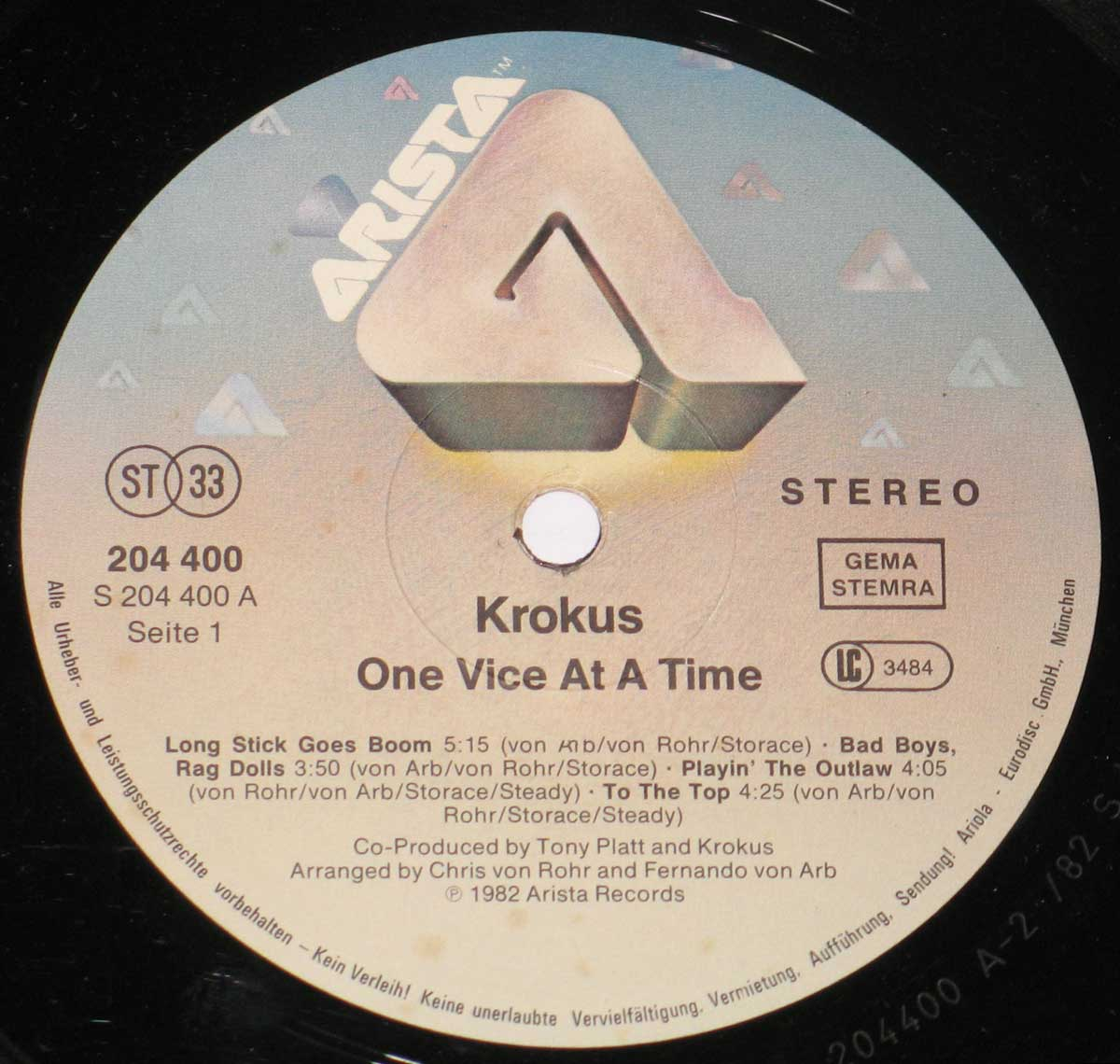 "Close-up Photo of ""One Vice at a Time"" Arista 204 400 Record Label"