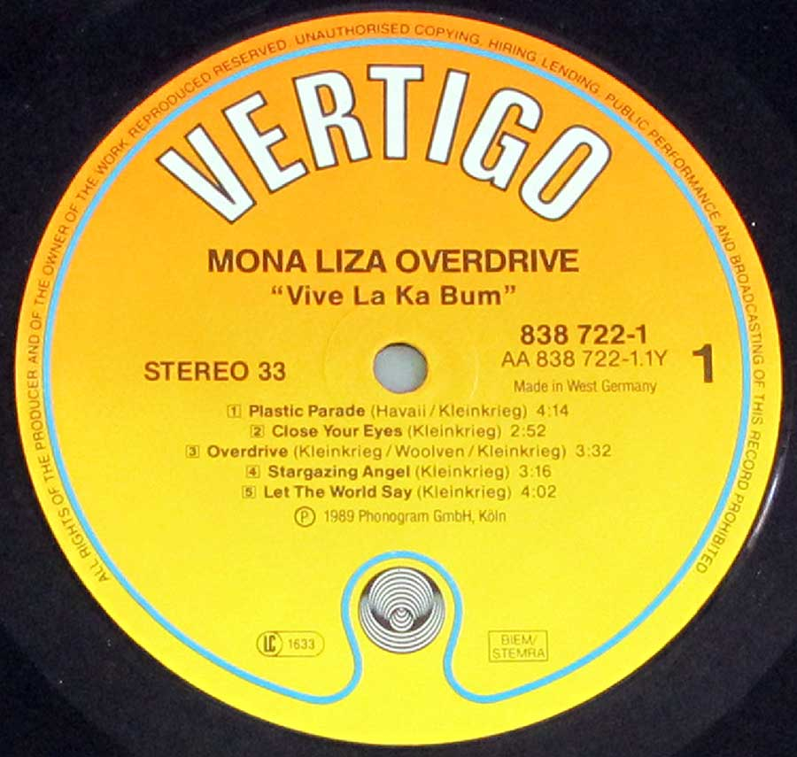 Close up of record's label MONA LIZA OVERDRIVE - Vive La Ka Bum Side One