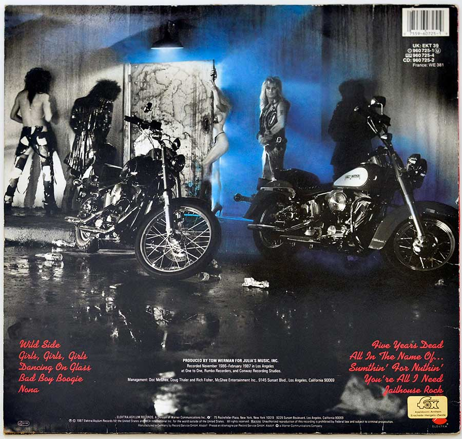 Photo of album back cover MOTLEY CRUE - Girls, Girls, Girls Elektra 960 725
