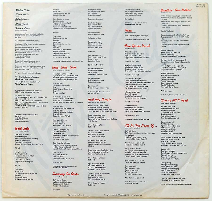 Photo #2  of the custom inner sleeve  MOTLEY CRUE - Girls, Girls, Girls Elektra 960 725