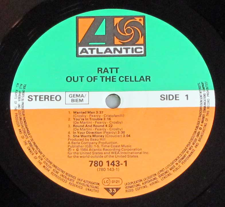 Photo of record 1 of RATT - Out Of The Cellar