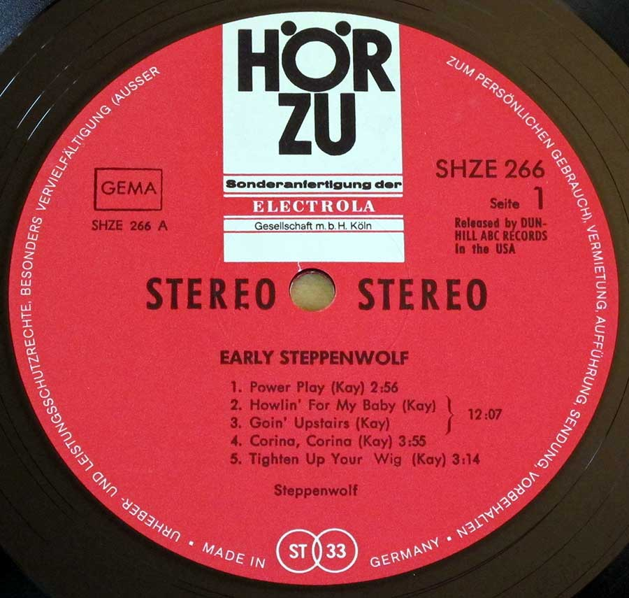 Close up of record's label STEPPENWOLF - Early Steppenwolf Live in San Francisco Side One