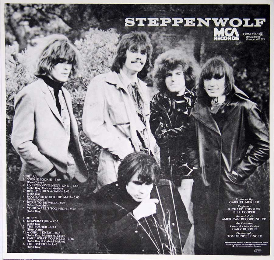 "STEPPENWOLF - S/T Self-titled 12"" Vinyl LP Album back cover"