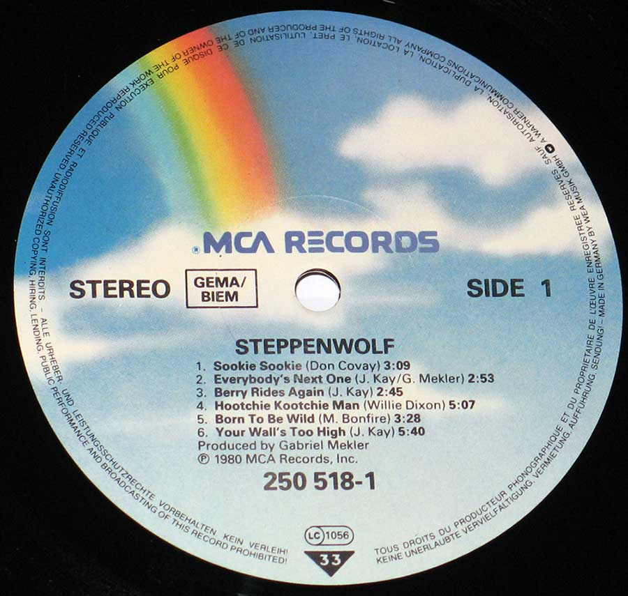 """Steppenwolf"" Blue Sky with Rainbow MCA Records Record Label Details: MCA Records 250 519-1, LC 1056"