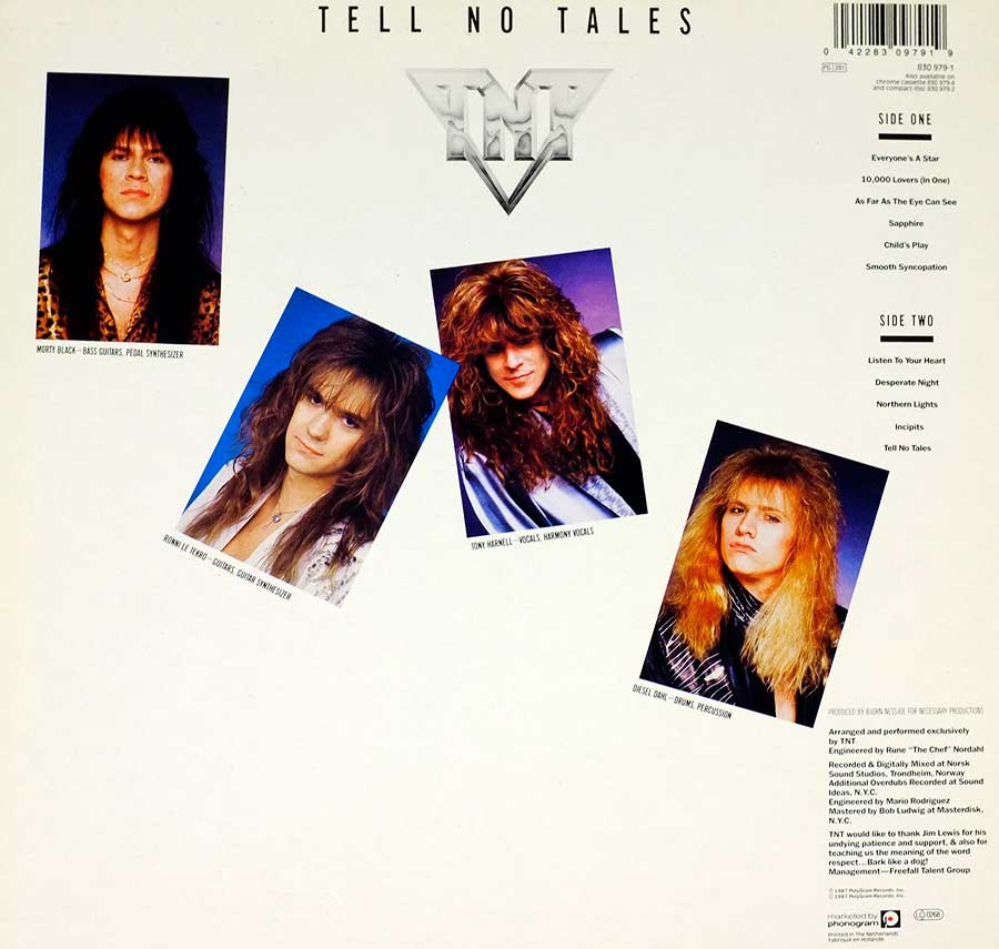 "TNT - Tell No Tales Norwegian Hard Rock Glam Metal 12"" LP VINYL  back cover"