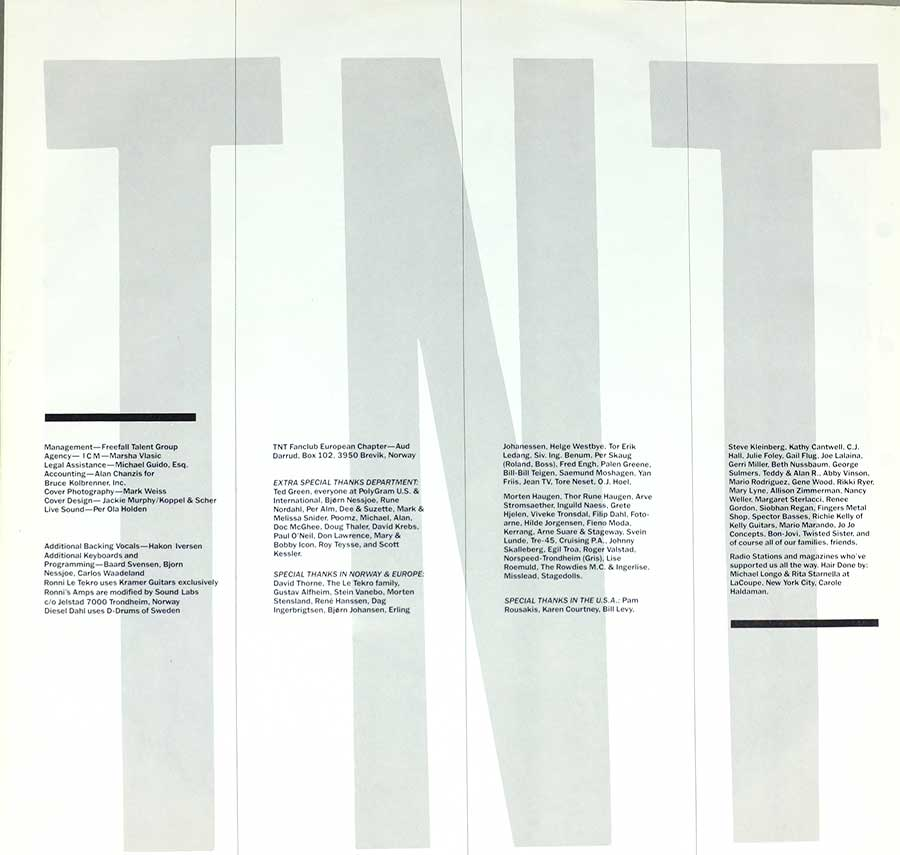 "TNT - Tell No Tales Norwegian Hard Rock Glam Metal 12"" LP VINYL  custom inner sleeve"