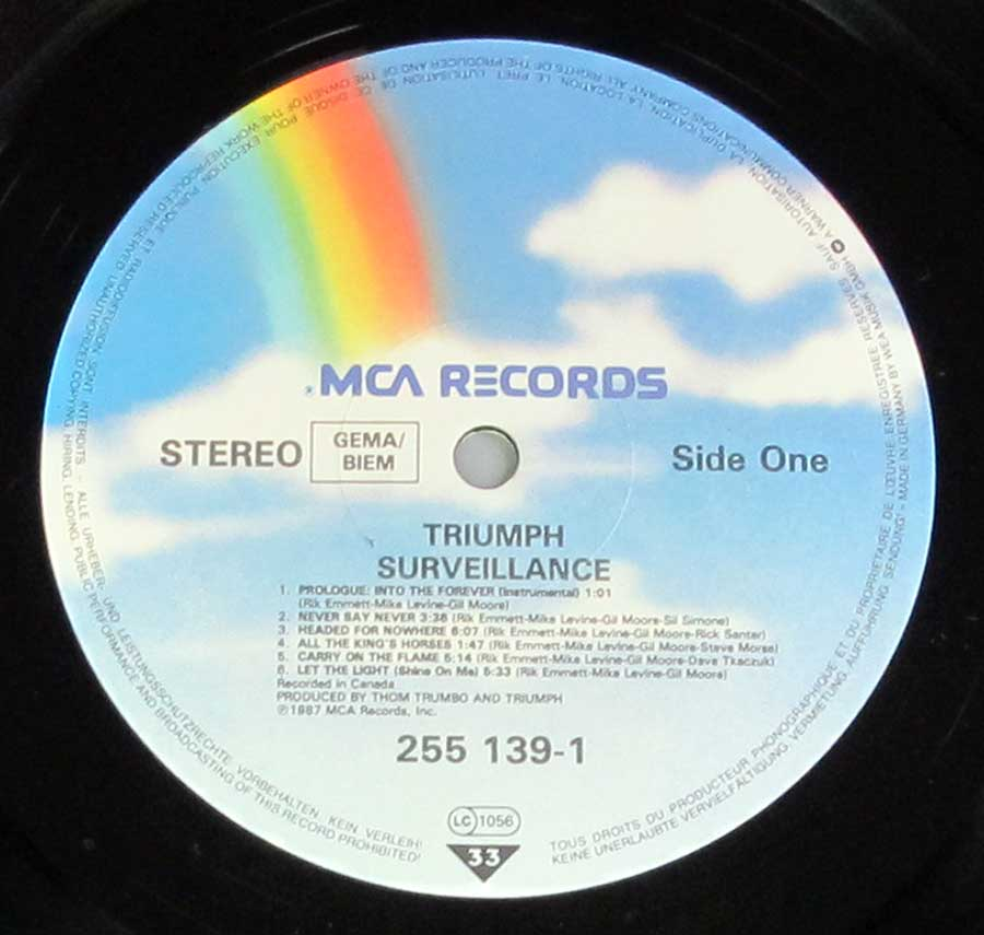 """ Surveillance "" Record Label Details: MCA Records 255 139"