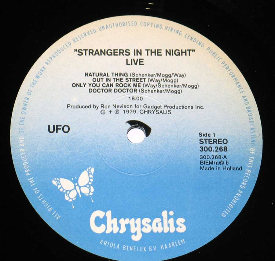 "Close-up Photo of Chrysalis White and Blue Record Label of ""Strangers in the Night"" by ""UFO"""